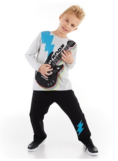 Denokids Rocker Boy Erkek Çocuk Pantolon Takım Renkli